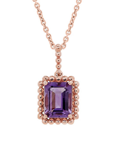 Fine Jewellery 14K Rose Gold Amethyst Pendant Necklace-AMETHYST-One Size