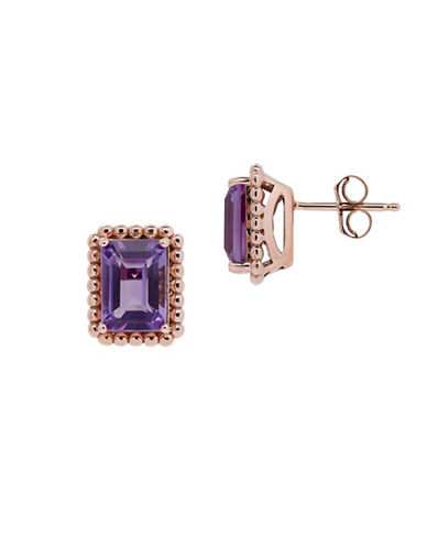 Fine Jewellery Amethyst and 14K Rose Gold Stud Earrings-AMETHYST-One Size