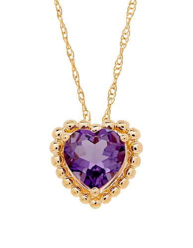 Fine Jewellery Amethyst and 14K Gold Heart Pendant Necklace-AMETHYST-One Size