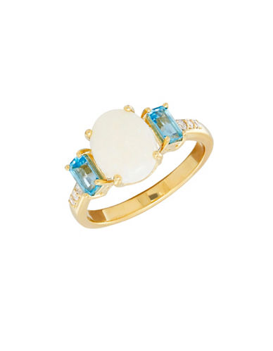 Fine Jewellery Opal, Topaz, 14K Gold and 0.66 TCW Diamond Ring-BLUE TOPAZ/OPAL-7