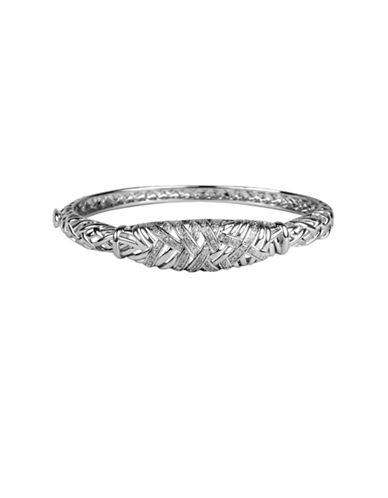 Fine Jewellery Diamond and Sterling Silver Bangle-SILVER-One Size
