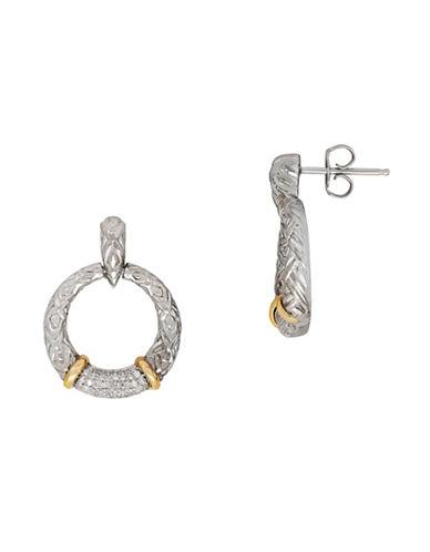 Fine Jewellery Two-Tone 0.25 TCW Diamond Gypsy Hoop Earrings-GREY-One Size