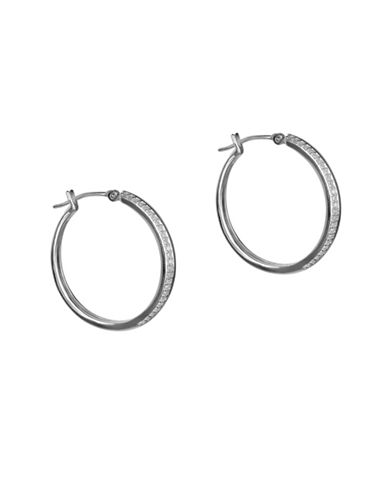 Fine Jewellery Sterling Silver Hoop Earrings with 0.20 TCW Diamonds-SILVER-One Size