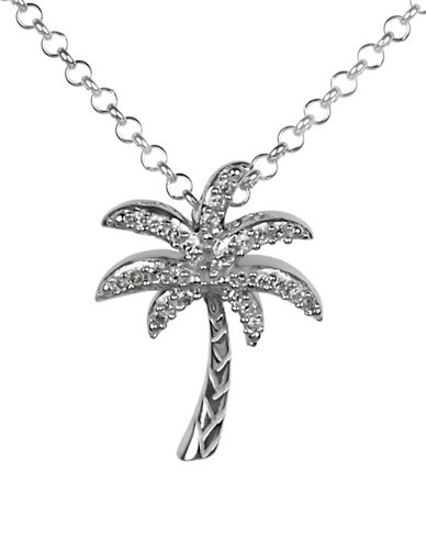 Fine Jewellery Diamond and Sterling Silver Palm Pendant Necklace-SILVER-One Size