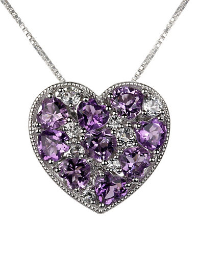 Fine Jewellery Amethyst, White Topaz and Sterling Silver Heart Pendant Necklace-PURPLE-One Size