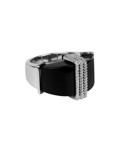 Fine Jewellery Diamond, Onyx and Sterling Silver Ring-BLACK-7