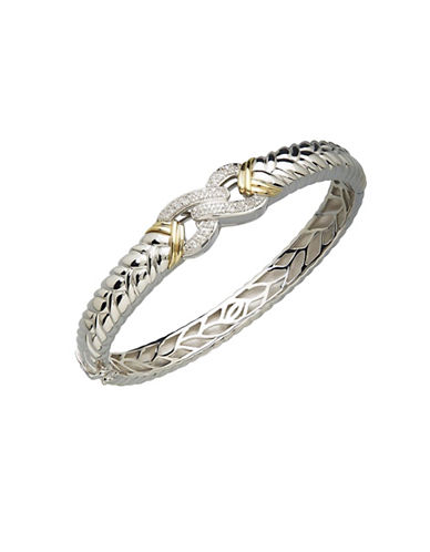 Fine Jewellery Two-Tone 0.25 TCW Diamond Bangle-GREY-One Size