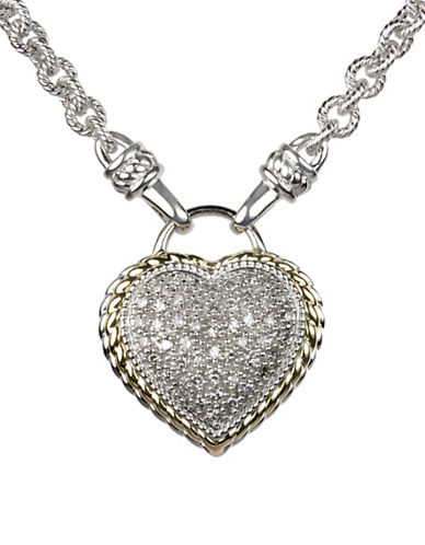 Fine Jewellery Diamond and 14k Goldplated Sterling Silver Heart Pendant Necklace-SILVER-One Size