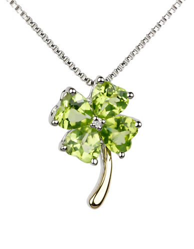 Fine Jewellery Diamond, Peridot and 14k Goldplated Sterling Silver Four Leaf Clover Pendant Necklace-GREEN-One Size