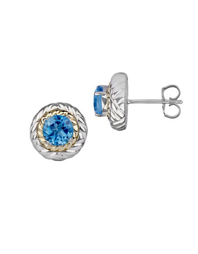 Fine Jewellery Blue Topaz and 14K Goldplated Sterling Silver Earrings-BLUE-One Size
