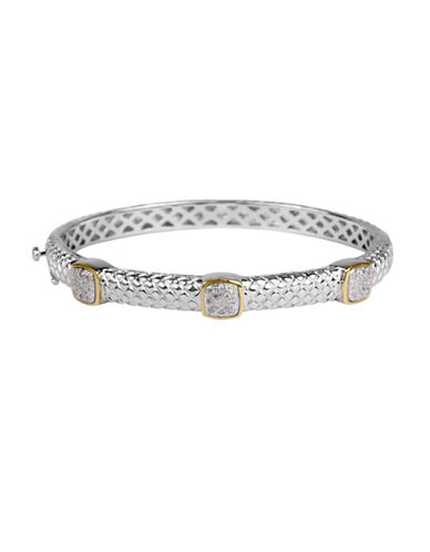Fine Jewellery Diamond and 14K Goldplated Sterling Silver Bangle-SILVER-One Size