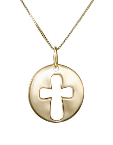 Fine Jewellery 14K Yellow Gold Medallion Cut-Out Cross Pendant Necklace-GOLD-One Size