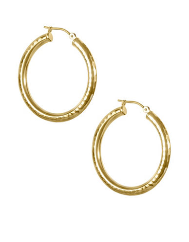 Fine Jewellery Hammered 14K Yellow Gold Hoop Earrings-GOLD-One Size