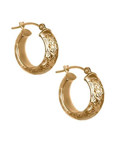 Fine Jewellery Crystal-Cut 14K Yellow Gold Hoop Earrings-GOLD-One Size