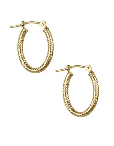 Fine Jewellery Twisted 14K Yellow Gold Oval Hoop Earrings-GOLD-One Size