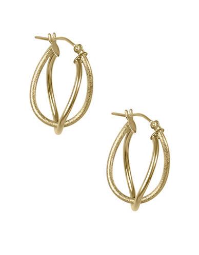 Fine Jewellery 14KT Yellow Gold Double Hoop Earrings-GOLD-One Size