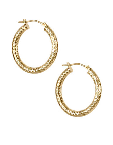Fine Jewellery 14KT Gold Hoop Earrings-GOLD-One Size