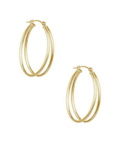 Fine Jewellery 14KT Yellow Gold Double Tube Oval Earrings-GOLD-One Size