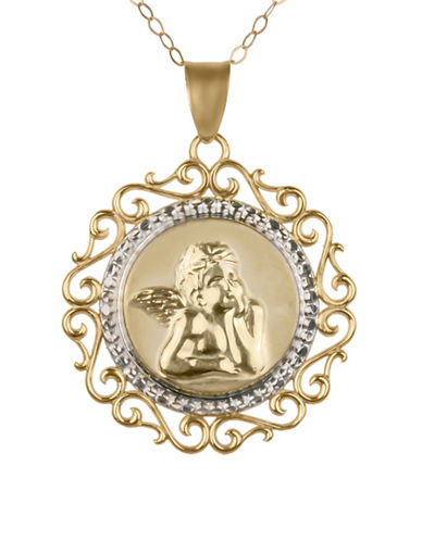 Fine Jewellery Fancy 14K Yellow Gold and Silvertone Angel Prayer Medallion-GOLD-One Size