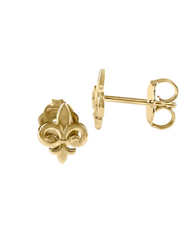 Fine Jewellery 14K Yellow Gold Fleur de Lis Stud Earrings-GOLD-One Size