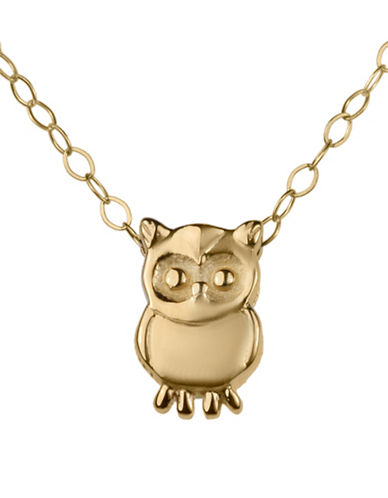 Fine Jewellery Teeny Tiny 14K Yellow Gold Owl Pendant Necklace-GOLD-One Size