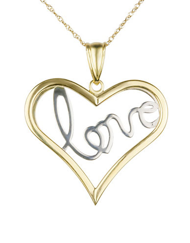 Fine Jewellery Two-Tone Open Heart Love Pendant Necklace-TWO TONE-One Size