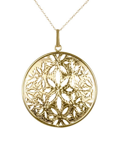 Fine Jewellery 14K Yellow Gold Floral Disc Pendant Necklace-GOLD-One Size