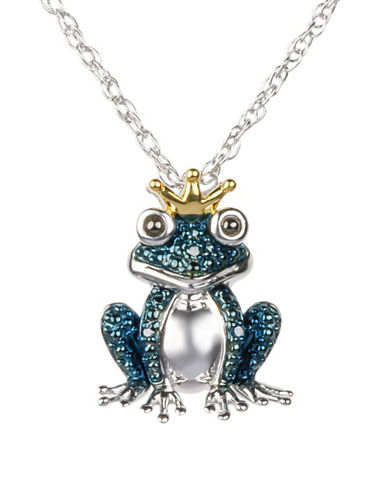 Miscellaneous 14K Yellow Gold and Sterling Silver 0.09TCW Diamond Pave Frog Pendant Necklace-SILVER-One Size