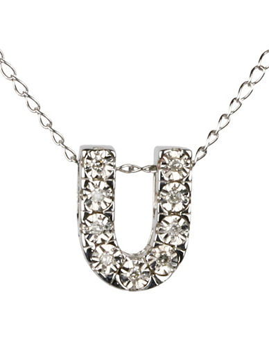 Miscellaneous Mini DiAura 0.297 TCW Diamonds U Pendant Necklace-SILVER-One Size