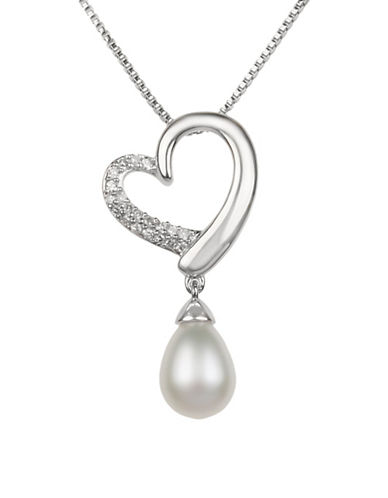 Miscellaneous Sterling Silver Freshwater Pearl and 0.10TCW Diamond Heart Pendant Necklace-SILVER-One Size