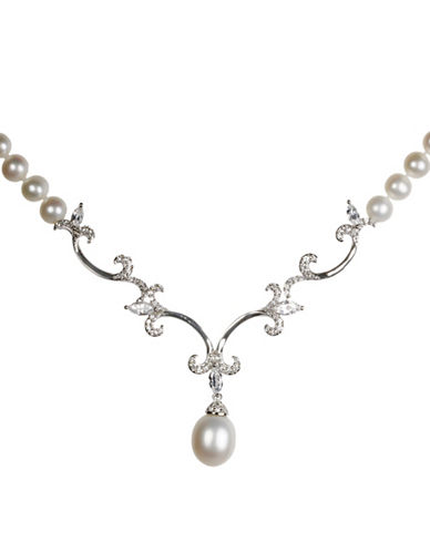 Miscellaneous 9MM Round, 11MM White Oval Freshwater Pearl Fleur de Lis Necklace-SILVER-One Size