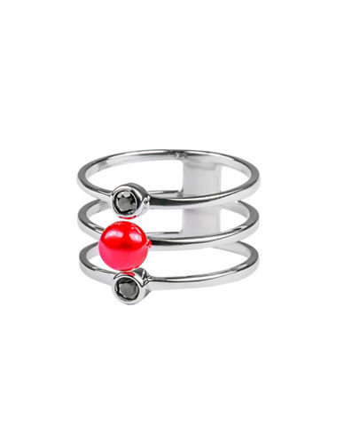 Miscellaneous 5MM-5.5MM Cherry Button Freshwater Pearl, Garnet and Sterling Silver Tri-Band Ring-SILVER-10