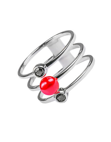Miscellaneous 5.5mm Red Button Pearl Trio Band Sterling Silver Ring-SILVER-7