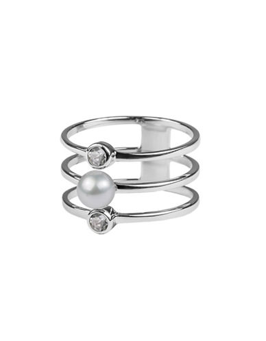 Miscellaneous 5MM-5.5MM Button Freshwater Pearl, Topaz and Sterling Silver Tri-Band Ring-SILVER-5