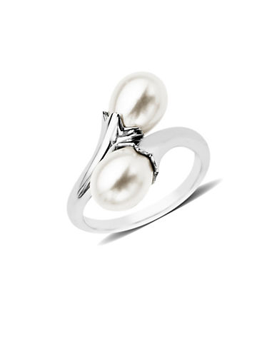 Miscellaneous 9MM x 7MM White Potato Freshwater Pearl Sterling Silver Trio Band Ring-SILVER-7