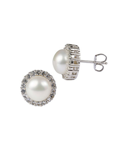 Miscellaneous Sterling Silver Freshwater Pearl and Cubic Zirconia Earring and Necklace Set-SILVER-One Size