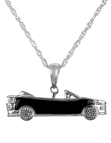 Miscellaneous Sterling Silver 0.01TCW Diamond Car Pendant Necklace-SILVER-One Size