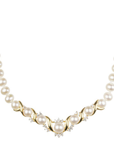 Miscellaneous 6MM Freshwater Cultured Pearl and Cubic Zirconia Goldplated Sterling Silver Necklace-SILVER-One Size