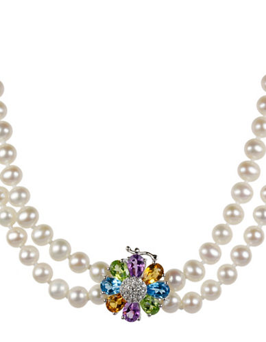 Miscellaneous 5MM Pearl, Amethyst, Citrine, Blue Topaz and Peridot Strand Necklace-WHITE-One Size