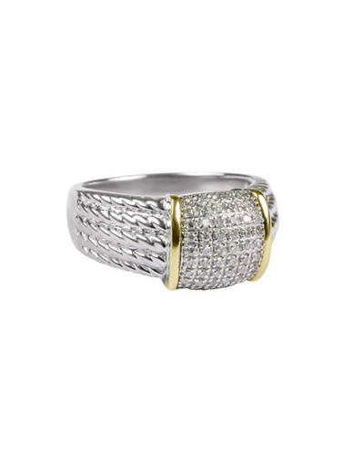Miscellaneous 14K Yellow Gold and Sterling Silver 0.25TCW Diamond Pave Ring-MULTI-7