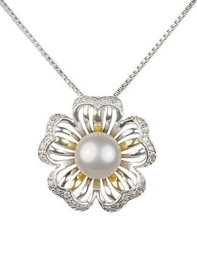 Miscellaneous 7MM Freshwater Pearl, 14K Yellow Gold, and 0.7 TCW Diamonds Flower Pendant Necklace-WHITE-One Size