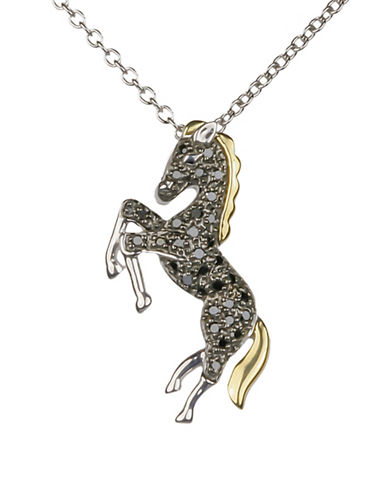 Miscellaneous 14K Yellow Gold, Sterling Silver and 0.16 TCW Diamonds Horse Pendant Necklace-MULTI-One Size