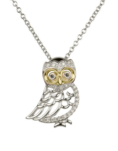 Miscellaneous 14K Yellow Gold, Sterling Silver and 0.10 TCW Diamonds Owl Pendant Necklace-MULTI-One Size
