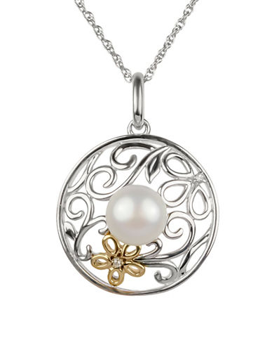 Miscellaneous 14K Yellow Gold and Sterling Silver Freshwater Pearl and 0.01TCW Diamond Floral Disc Pendant-MULTI-One Size
