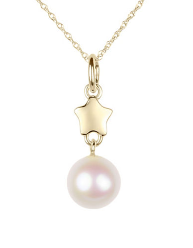 Miscellaneous 7.5MM 8MM Cultured Freshwater Pearl and 14K Yellow Gold Pendant Necklace-WHITE-One Size