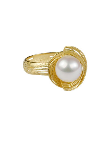 Miscellaneous 8MM White Freshwater Cultured Pearl 14K Yellow Gold Ring-GOLD-7