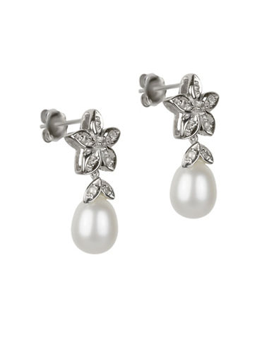 Fine Jewellery 9x7MM Pearls, 14K Gold and 0.50 TCW Diamond Floral Drop Earrings-WHITE-One Size