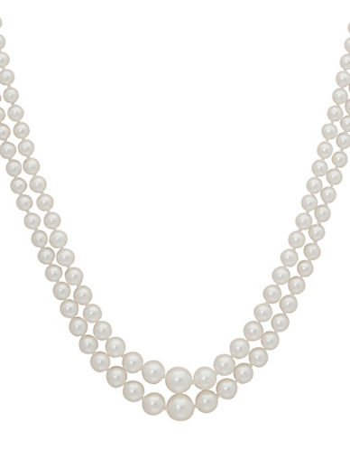 Finecraft Ii 5.5MM-2MM White Round Pearl Two-Row Graduated Necklace-PEARL-One Size