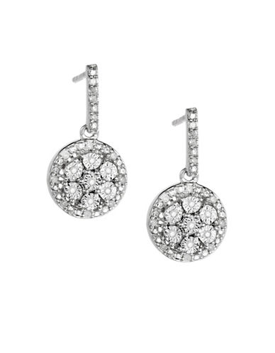 Finecraft Ii Sterling Silver 0.15TCW Diamond Disc Earrings-SILVER-One Size