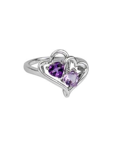 Finecraft Ii Amethyst and Sterling Silver Heart Ring-PURPLE-One Size